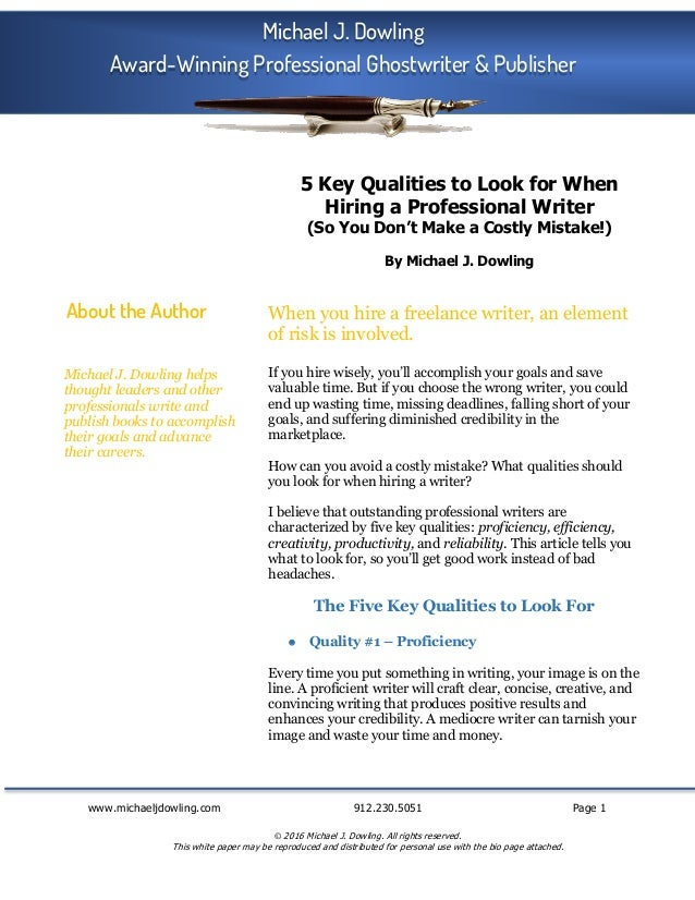 www.michaeljdowling.com 912.230.5051 Page 1 © 2016 Michael J. Dowling. All rights reserved. This white paper may be reprod...