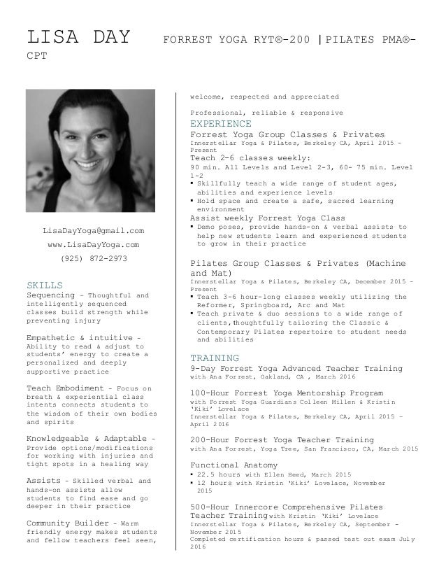Lisa Day Yoga Resume