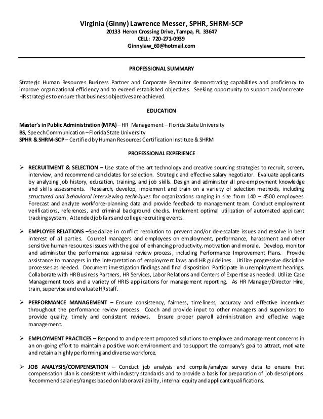 2015 MASTER Resume   Employment History   Ginny Messer. Virginia (Ginny)  Lawrence Messer, SPHR, SHRM SCP 20133 Heron Crossing Drive ...  Resume Employment History