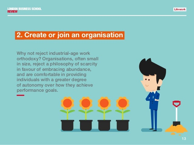 13 Lifework 1.2. Create or join an organisation Why not reject industrial-age work orthodoxy? Organisations, often small i...