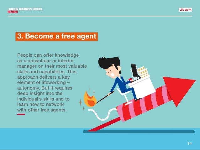 14 Lifework 1.3. Become a free agent People can offer knowledge as a consultant or interim manager on their most valuable ...