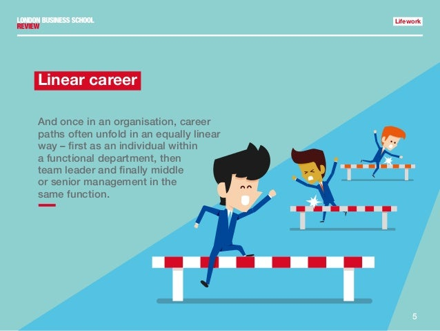 5 Lifework Linear career And once in an organisation, career paths often unfold in an equally linear way – first as an ind...