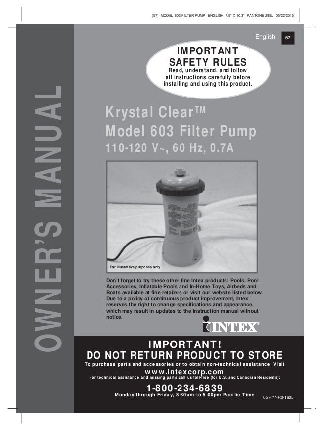 Intex Pool Filter Instruction Manual Enthusiast Wiring Diagrams