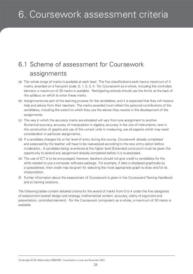 coursework assessment method