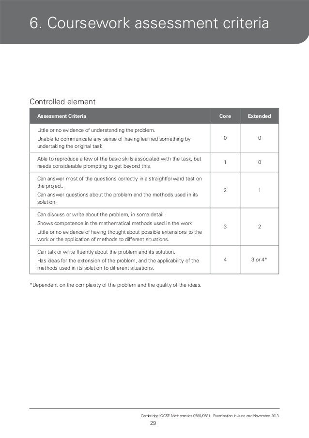 Cie coursework assessment summary form