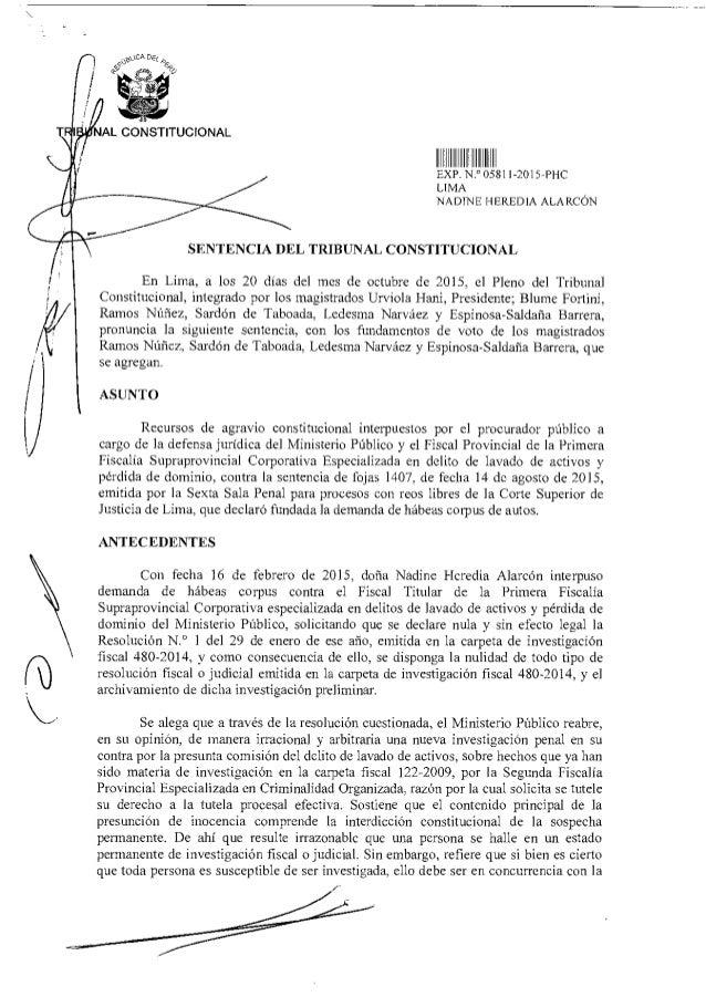 A9UCA DEL '7 NAL CONSTITUCIONAL EXP N.° OD81 I -2015-PHC LIMA NADINE HEREDIA ALARCÓN SENTENCIA DEL TRIBUNAL CONSTITUCIONAL...