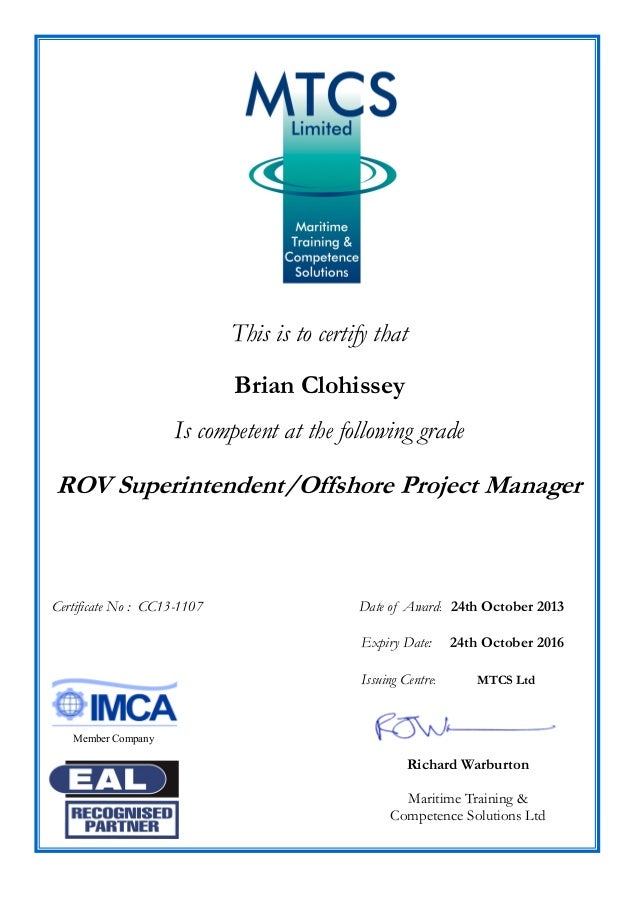 Rov Super Offshore Project Manager Cert B Clohissey