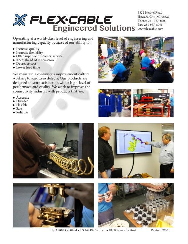 5822 Henkel Road Howard City, MI 49329 Phone: 231-937-8000 Fax: 231-937-8091 www.flexcable.comEngineered Solutions ISO 900...