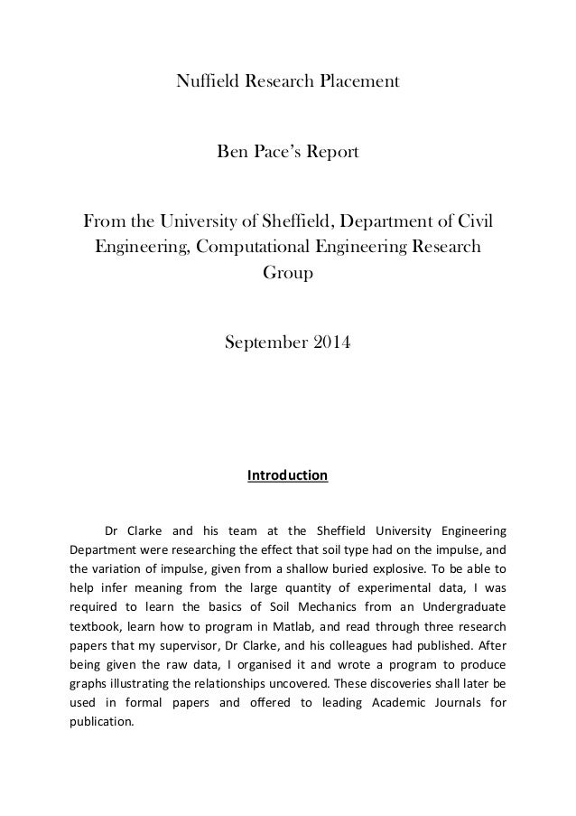 Nuffield Research Placement Ben Pace's Report From the University of Sheffield, Department of Civil Engineering, Computati...