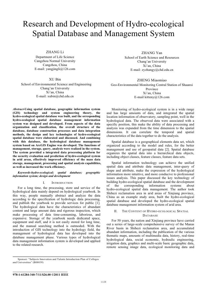 Research and Development of Hydro-ecological          Spatial Database and Management System                              ...