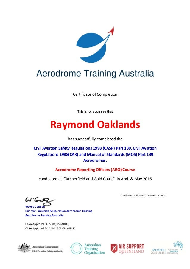 ray oaklands mos 139 aro certificate rh slideshare net FAR Part 139 PDF manual of standards (mos) – part 139 aerodromes