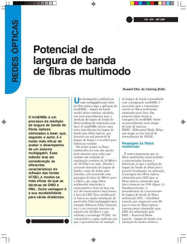 REDESÓPTICAS 124 – RTI – SET 2007 O minEMBc é um processo de medição de largura de banda de fibras ópticas otimizadas a la...