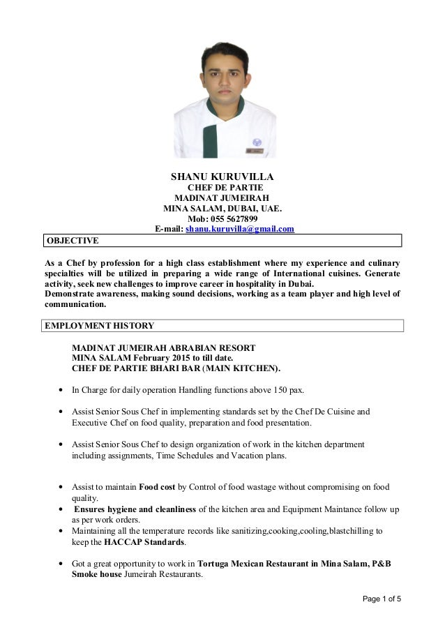 Resume Sample Template BizDoska com CHEF DE PARTIE job description job