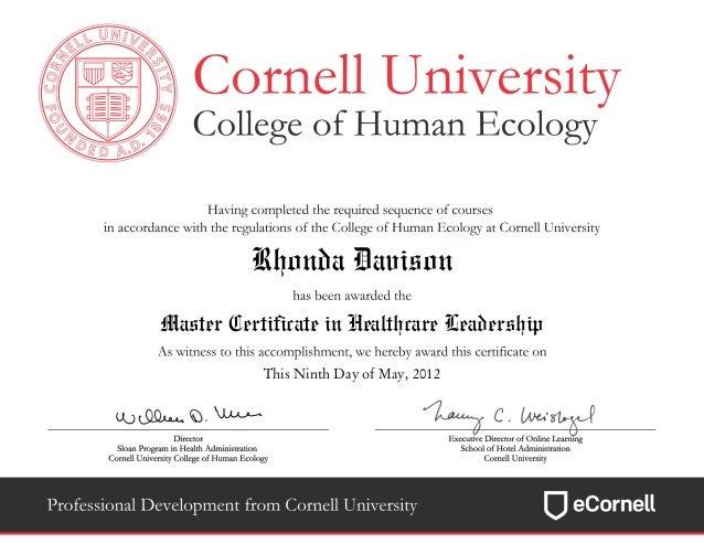 Certificatereportmaster Certificate In Healthcare Leadership