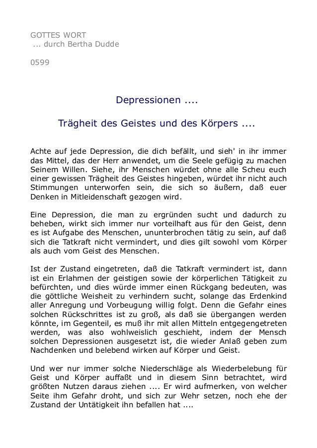 GOTTES WORT ... durch Bertha Dudde 0599 Depressionen .... Trägheit des Geistes und des Körpers .... Achte auf jede Depress...