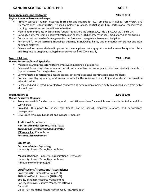 Resume - Sandra Scarborough - Human Resources Professional ss