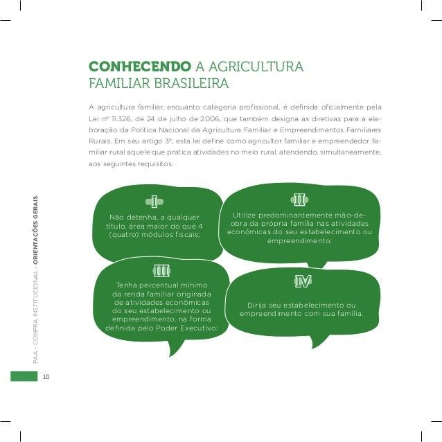 10 PAA-COMPRAINSTITUCIONAL-ORIENTAÇÕESGERAIS CONHECENDO A AGRICULTURA FAMILIAR BRASILEIRA A agricultura familiar, enquanto...