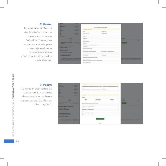 """54 PAA-COMPRAINSTITUCIONAL-ORIENTAÇÕESGERAIS 6º Passo: Ao assinalar o """"Termo de Aceite"""" e clicar na barra de cor verde """"At..."""