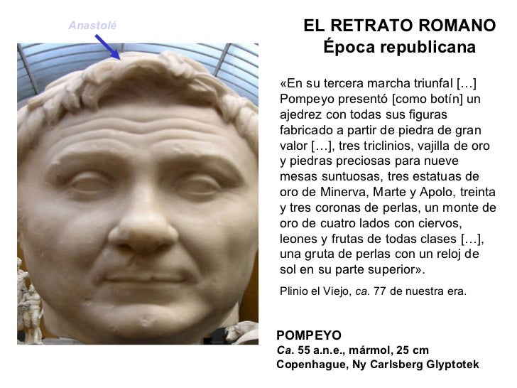 POMPEYO Ca . 55 a.n.e., mármol, 25 cm Copenhague, Ny Carlsberg Glyptotek EL RETRATO ROMANO Época republicana «En su tercer...