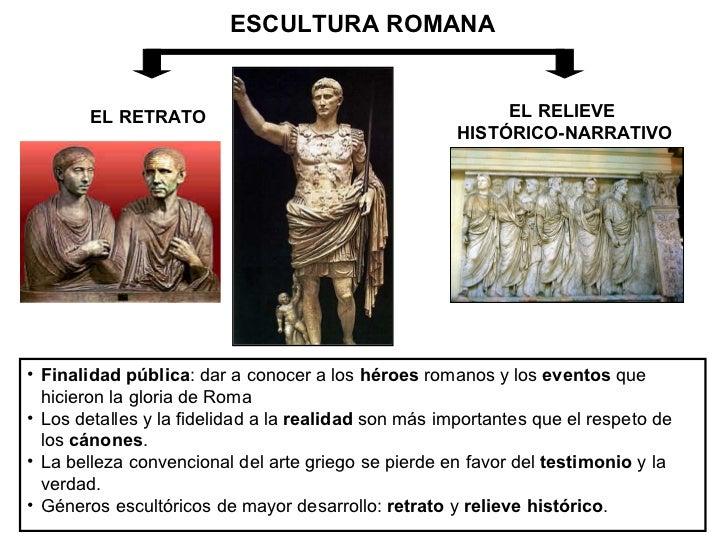 ESCULTURA ROMANA EL RETRATO EL RELIEVE  HISTÓRICO-NARRATIVO <ul><li>Finalidad pública : dar a conocer a los  héroes  roman...