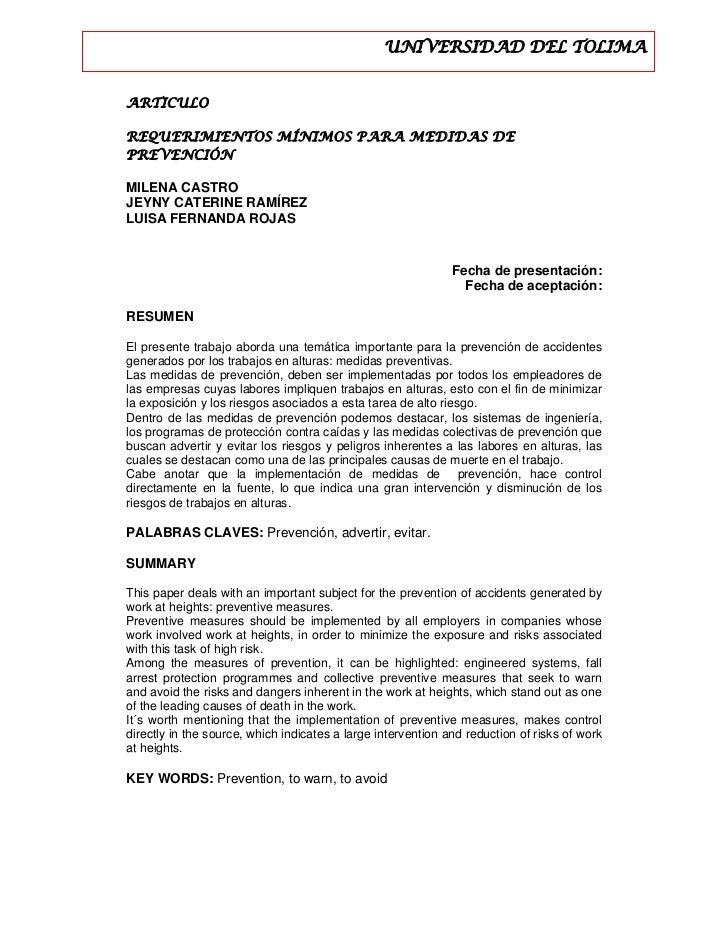 UNIVERSIDAD DEL TOLIMAARTICULOREQUERIMIENTOS MÍNIMOS PARA MEDIDAS DEPREVE...