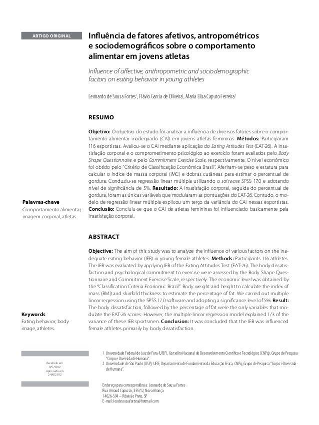 artigo original        Influência de fatores afetivos, antropométricos                            e sociodemográficos sobr...