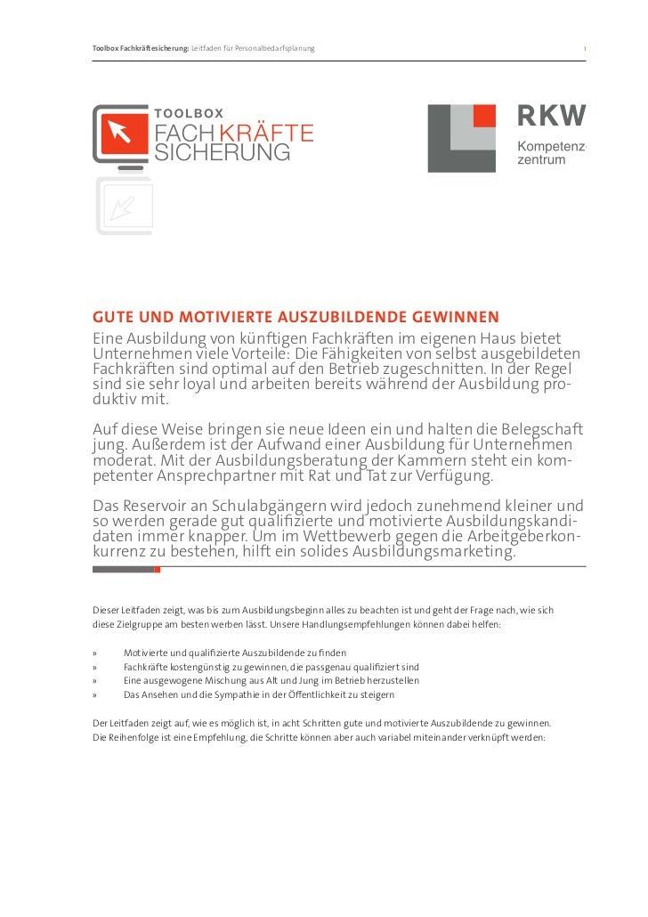 Toolbox Fachkräftesicherung: Leitfaden für Personalbedarfsplanung                                             1Gute und ...
