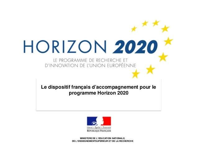 1 Le dispositif français d'accompagnement pour le programme Horizon 2020 MINISTERE DE L'EDUCATION NATIONALE, DE L'ENSEIGNE...