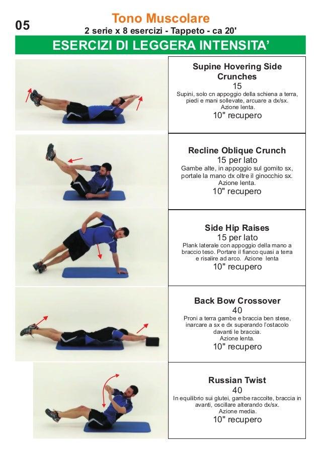 05  Tono Muscolare 2 serie x 8 esercizi - Tappeto - ca 20'  ESERCIZI DI LEGGERA INTENSITA' Supine Hovering Side Crunches 1...