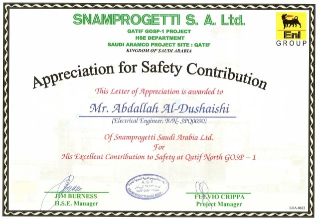 health and safety certificate template - 18 2 snam qatif gosp1 safety recognition certificate