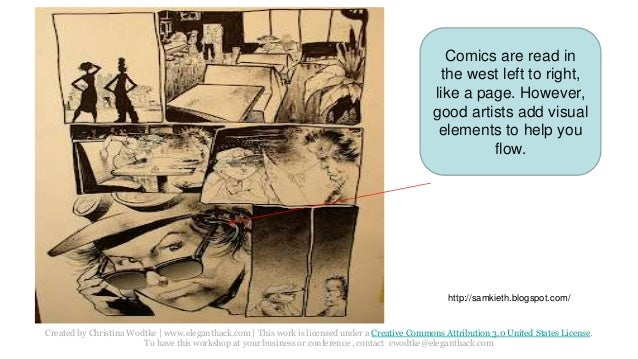 Comics are read in  the west left to right,  like a page. However,  good artists add visual  elements to help you  Created...