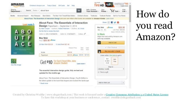 How do  you read  Amazon?  Created by Christina Wodtke   www.eleganthack.com   This work is licensed under a Creative Comm...