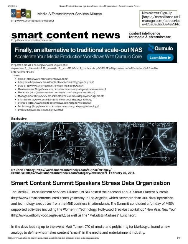 2/9/2016 Smart Content Summit Speakers Stress Data Organization - Smart Content News http://www.smartcontentnews.com/smart...