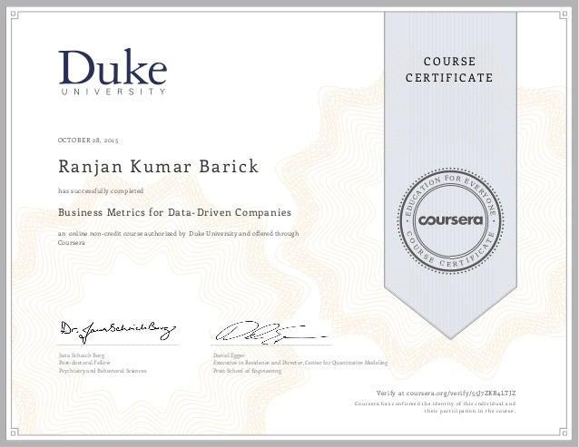 DUKE Business Anaylytics certificate