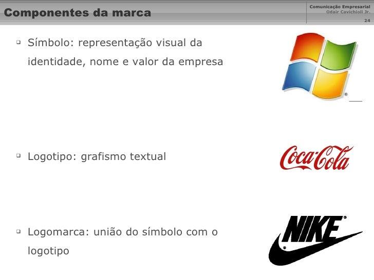 Componentes da marca <ul><li>Símbolo: representação visual da identidade, nome e valor da empresa </li></ul><ul><li>Logoti...