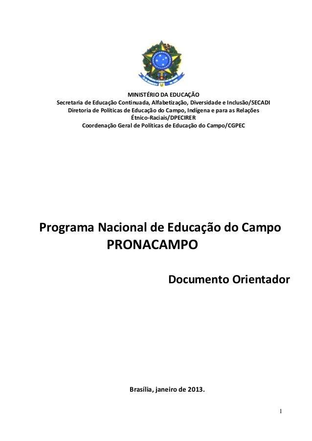 1 MINISTÉRIO DA EDUCAÇÃO Secretaria de Educação Continuada, Alfabetização, Diversidade e Inclusão/SECADI Diretoria de Polí...