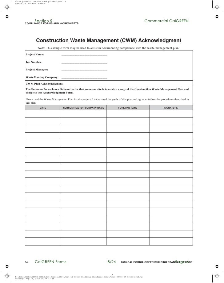Commercial Calgreen Compliance Forms And Worksheets