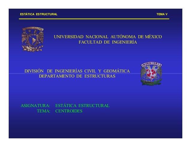 ESTÁTICA ESTRUCTURAL TEMA V UNIVERSIDAD NACIONAL AUTÓNOMA DE MÉXICO FACULTAD DE INGENIERÍA DIVISIÓN DE INGENIERÍAS CIVIL Y...