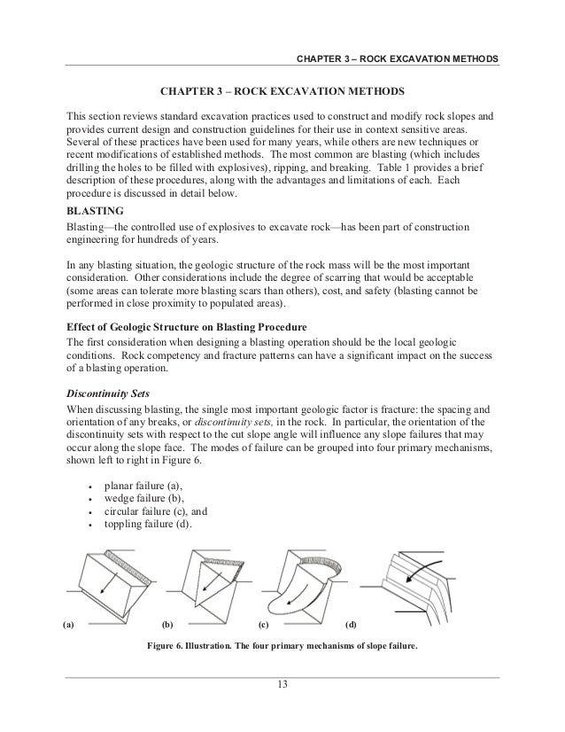 CHAPTER 3 – ROCK EXCAVATION METHODS 13 CHAPTER 3 – ROCK EXCAVATION METHODS This section reviews standard excavation practi...