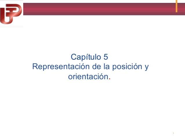Capítulo 5 Representación de la posición y orientación. n de la orientación.  1