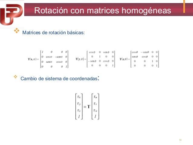 Rotación con matrices homogéneas   Matrices de rotación básicas:   Cambio de sistema de coordenadas:  10