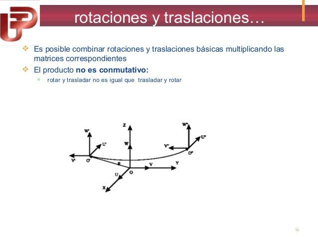 rotaciones y traslaciones…  Es posible combinar rotaciones y traslaciones básicas multiplicando las matrices correspondie...