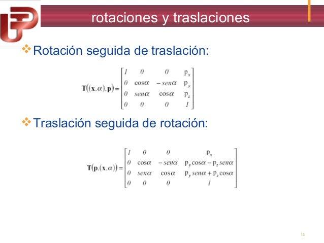 rotaciones y traslaciones  Rotación seguida de traslación:   Traslación seguida de rotación:  13
