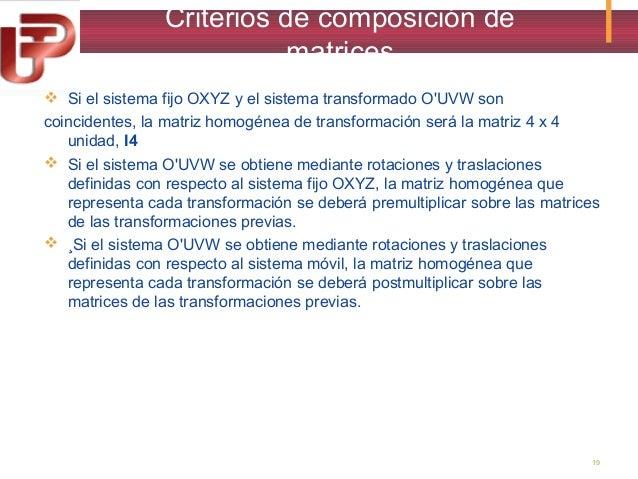 Criterios de composición de matrices  Si el sistema fijo OXYZ y el sistema transformado O'UVW son coincidentes, la matriz...