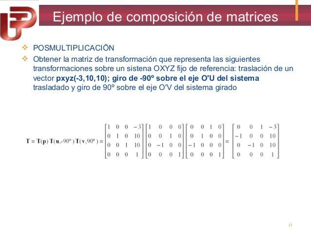 Ejemplo de composición de matrices  POSMULTIPLICACIÖN  Obtener la matriz de transformación que representa las siguientes...