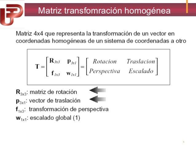 Matriz transfomración homogénea  5