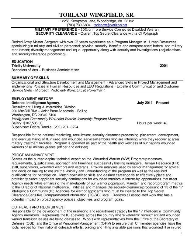 resume and military veteran