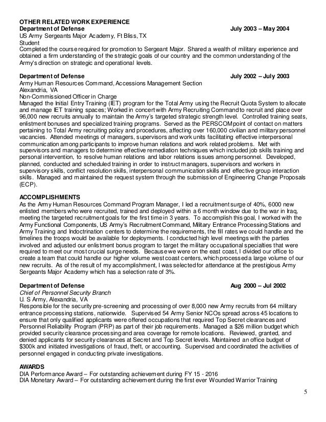 Us Army Experience On Resume