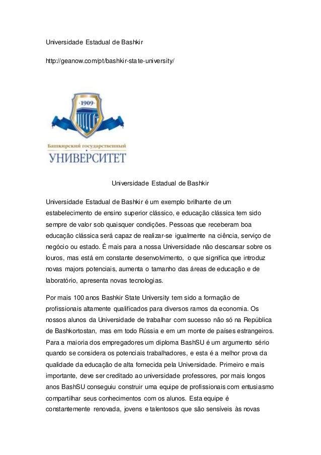 Universidade Estadual de Bashkir http://geanow.com/pt/bashkir-state-university/ Universidade Estadual de Bashkir Universid...
