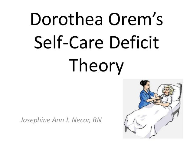 Dorothea Orem's Self-Care Deficit Theory Josephine Ann J. Necor, RN